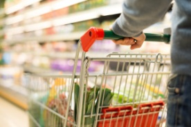 Close-up detail of a man shopping in a supermarket