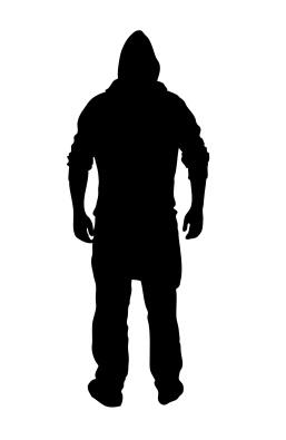 Silhouette eines Mannes mit Kapuzenshirt